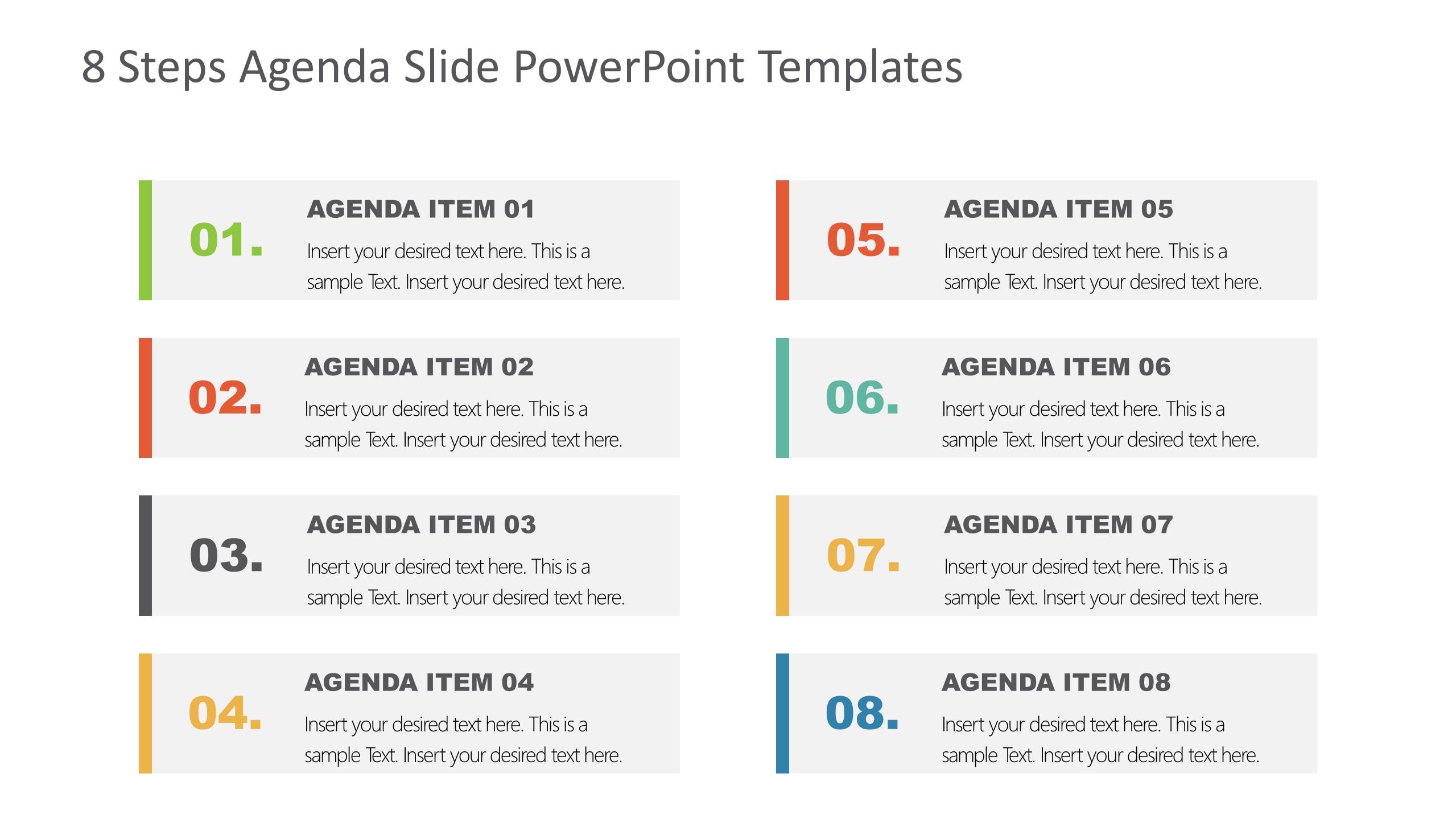 Agenda Presentation Template of 8 Items
