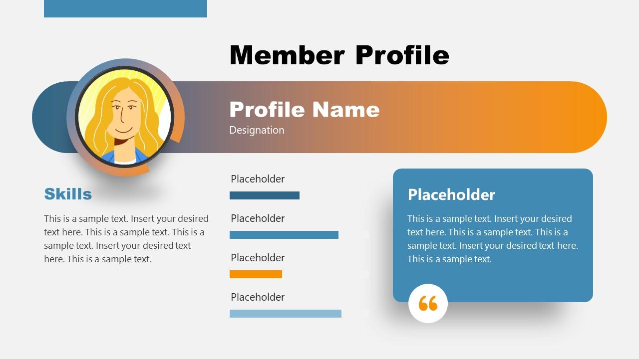 Cartoon Graphics Member Profile PPT