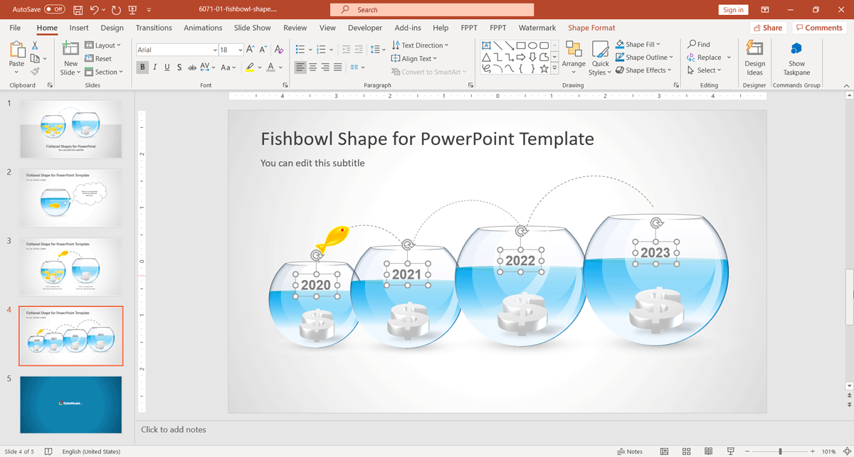 Fishbowl Shape Timeline Slide