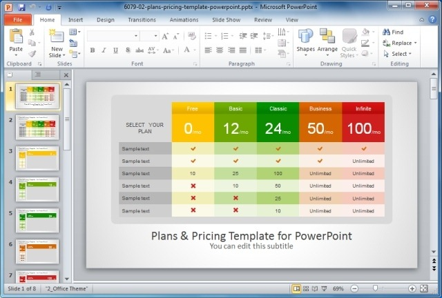 Plans And Pricing Template For PowerPoint