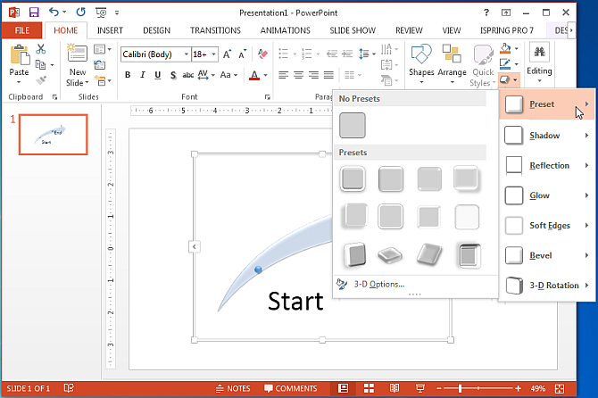 Presets for customizing arrow shapes in PowerPoint