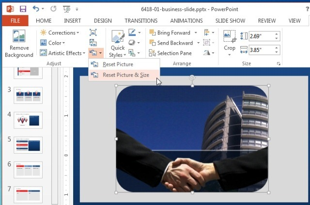 Reset pictures in PowerPoint 2013