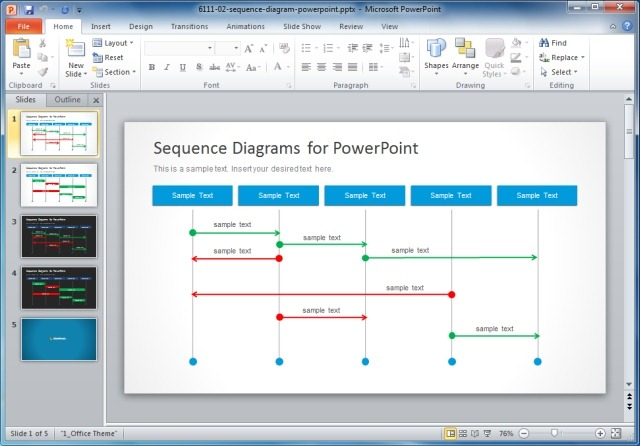 Sequence Diagrams Template For PowerPoint