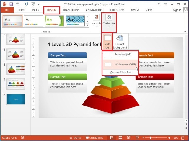 Set Slide Size in PowerPoint 2013