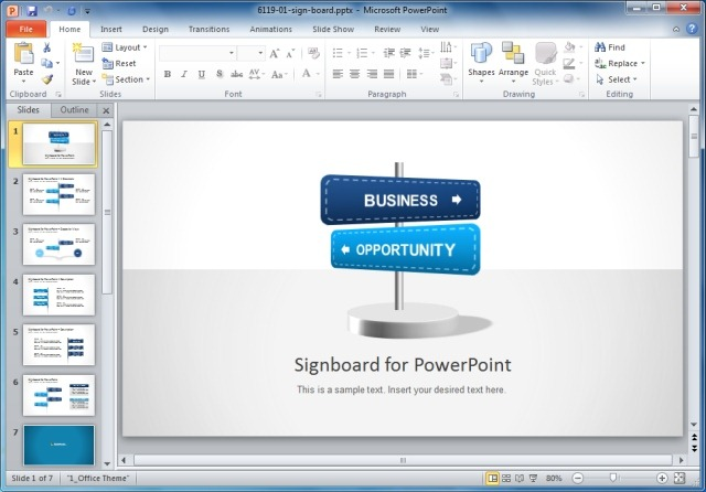 Signboard PowerPoint Template with Arrows