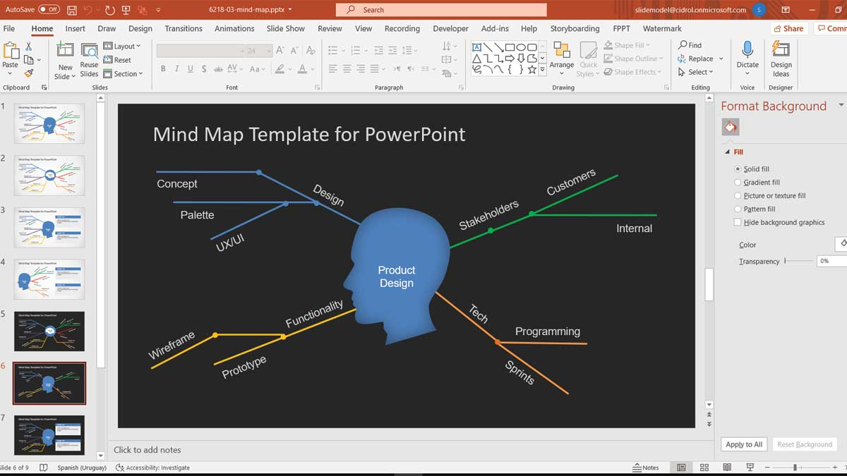 Simple Mind Map Template For PowerPoint