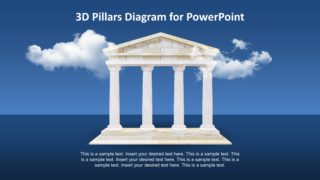 4 Columns Animated Greek Temple 3D PowerPoint Template