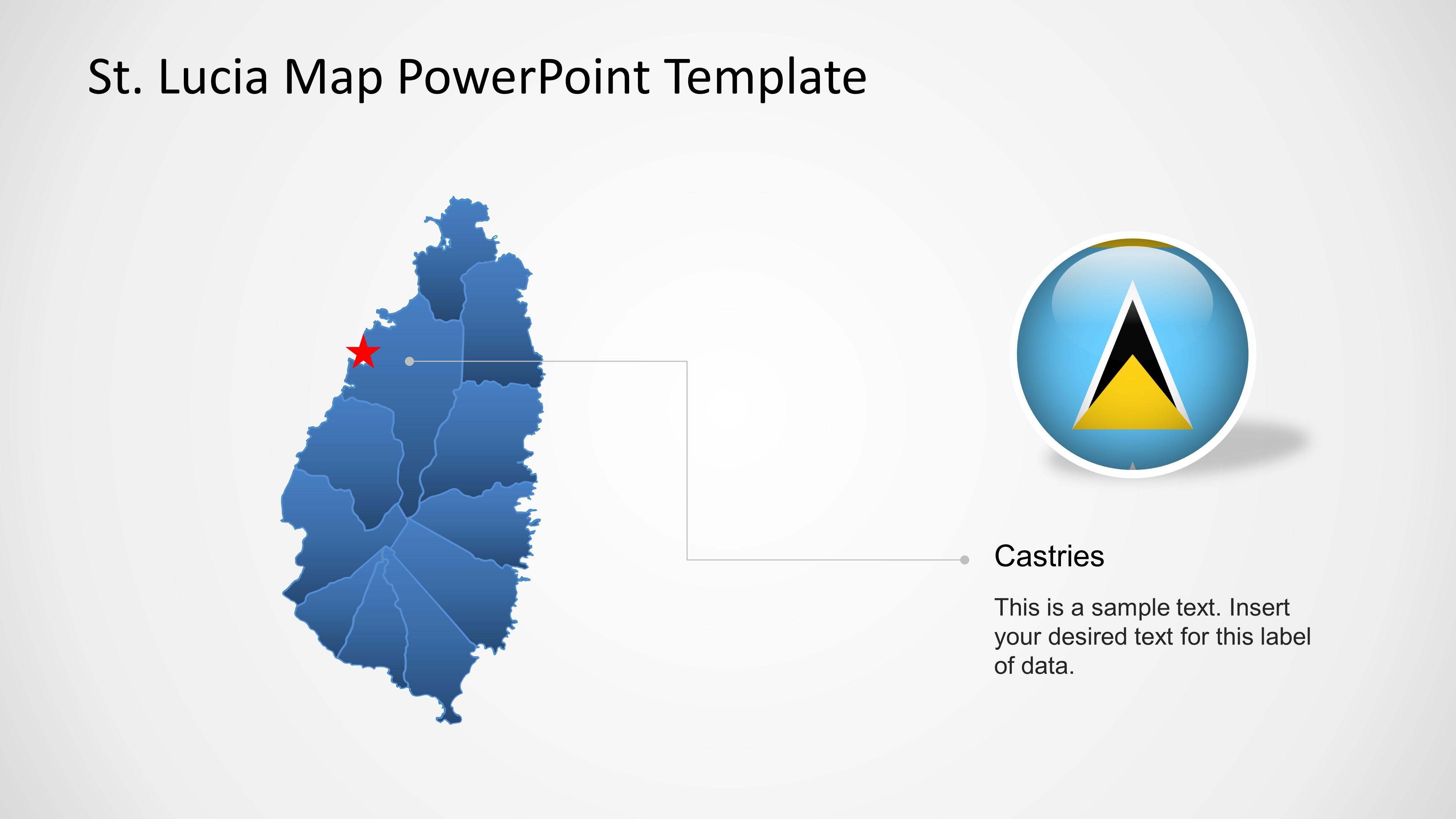 Editable PPT Map of Saint Lucia