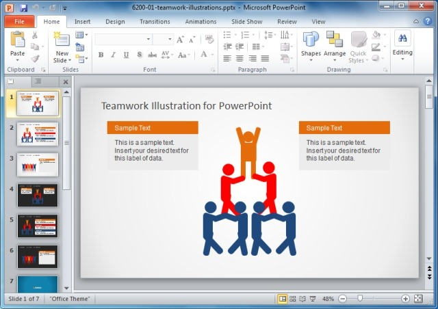 Teamwork Illustration Template For PowerPoint