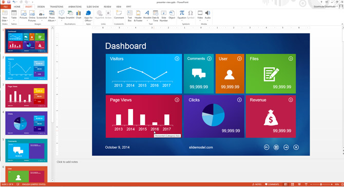 PowerPoint Background Example Metro Dashboard