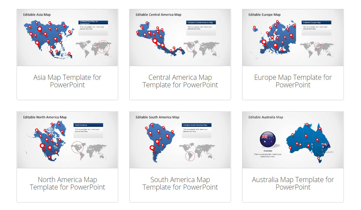 7 Continents Map PowerPoint template