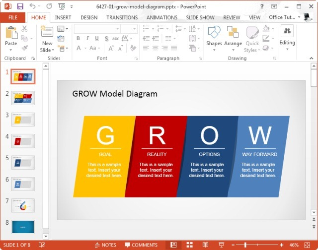 What is grow model and how to use it in presentations for Grow coaching template