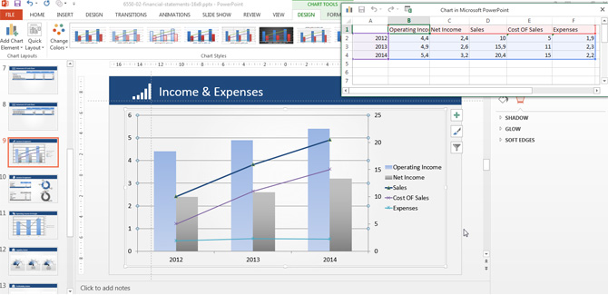 Icome and Expenses Data Driven PowerPoint Chart