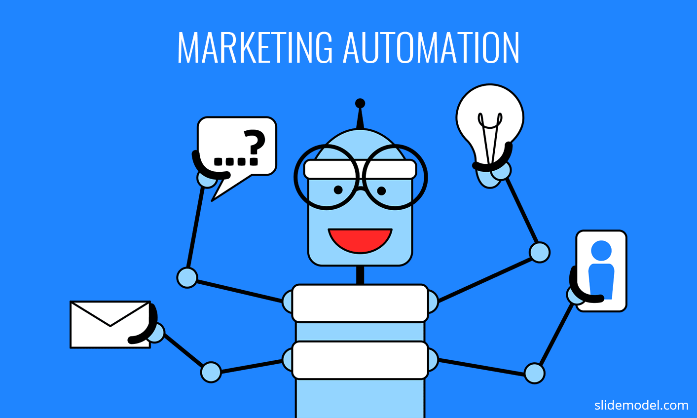 A robot design created as a metaphor of Marketing Automation with blue background
