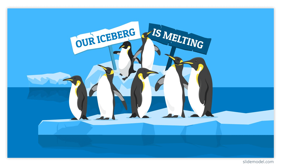 Our Iceberg Is Melting Concept with Penguins in an Iceberg