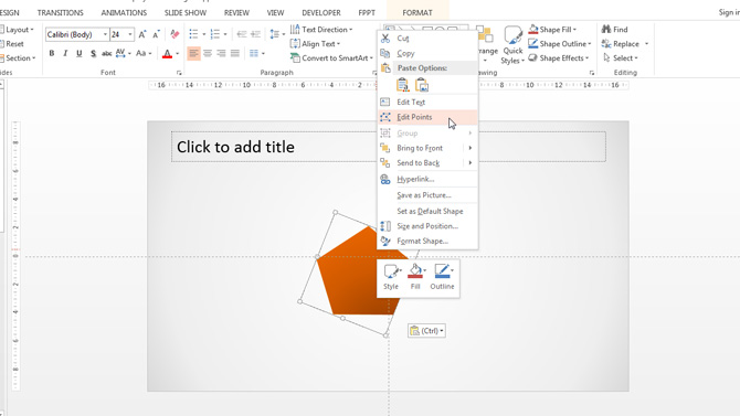 Edit Shape Points Menu of PowerPoint
