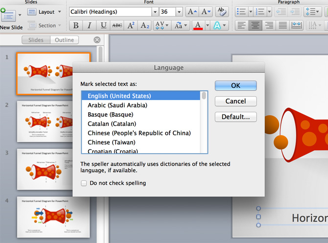 Mac PowerPoint 2011 Proofing Language Menu