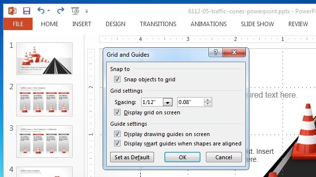 snap objects to grid in powerpoint