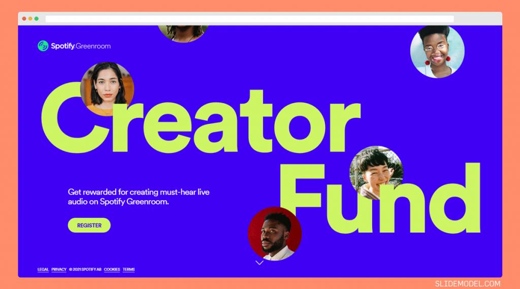 Spotify Creator Fund website named Spotify Greenroom