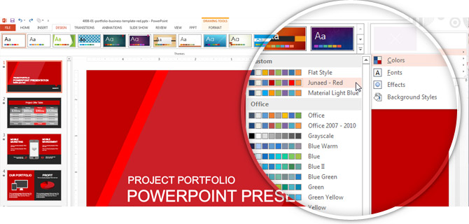 Using the Theme Colors palette in Microsoft PowerPoint 2013