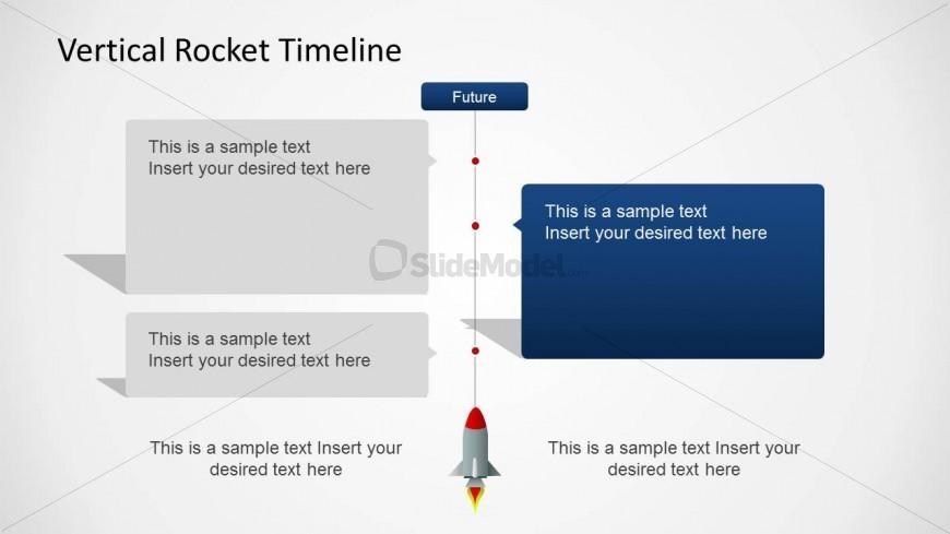 vertical timeline slide design with rocket slidemodel
