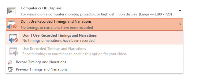 Save Recorded Timings and Narrations in a PowerPoint Video
