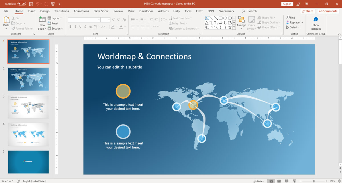 world map and connections powerpoint template